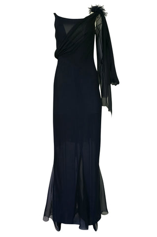 2002 Chanel Cruise Collection Midnight Blue Fitted & Trained Dress