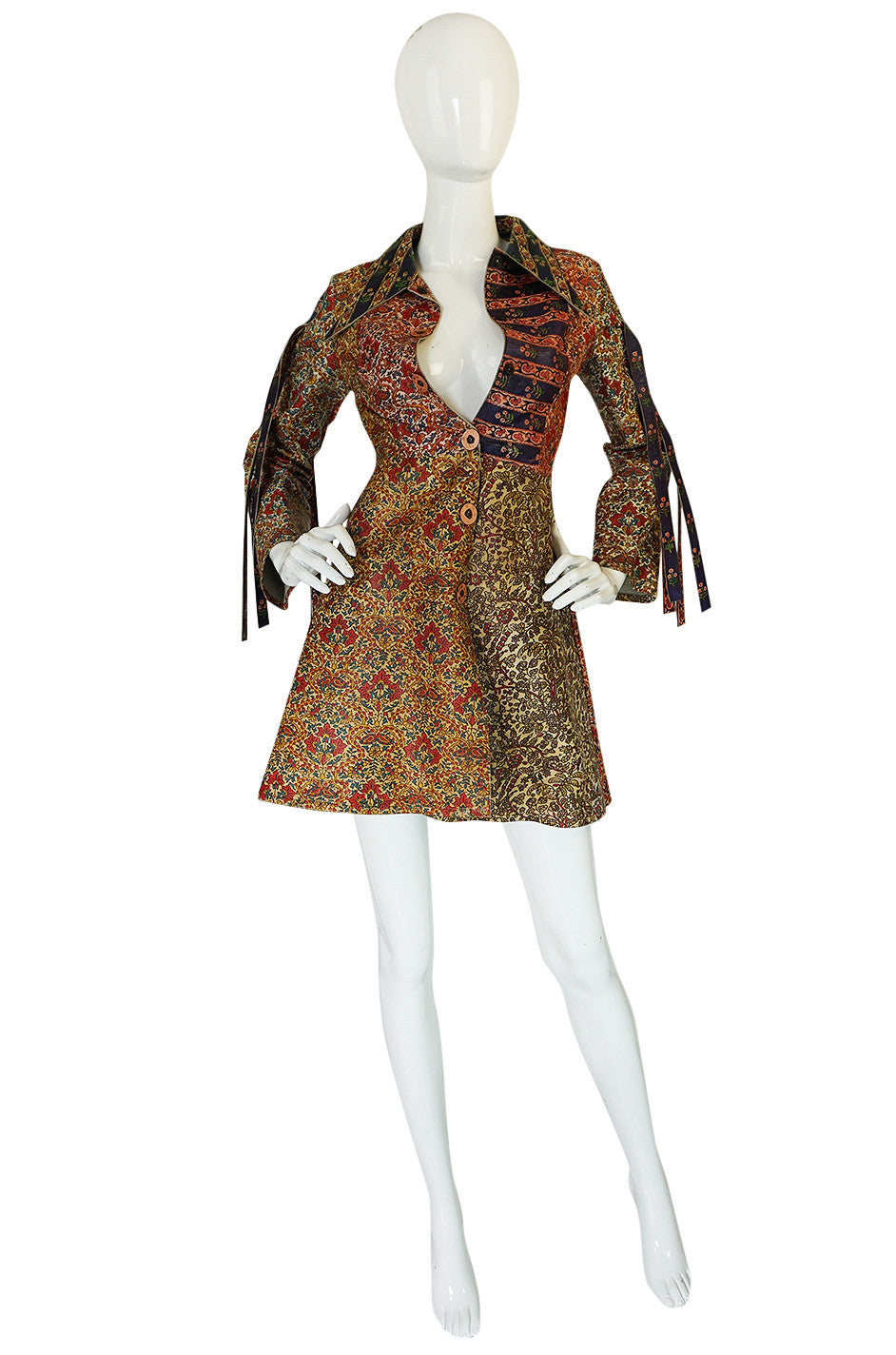 be150750562d Early & Rare 1970s Roberto Cavalli Leather Print Jacket or Mini |  shrimptoncouture.com
