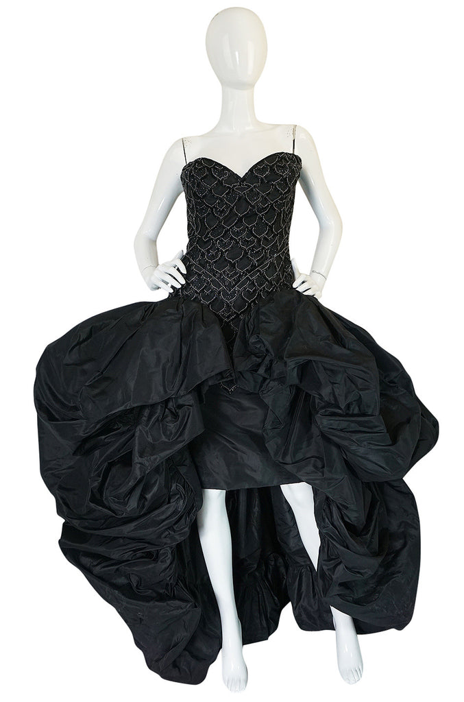 1980s Loris Azzaro Couture Billowing Silk Beaded Gown