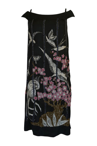 1920s Beaded Flapper Dress w Elaborate Tree & Bird Design
