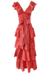 Prettiest 1970s Oscar de la Renta Tiered & Ruffled Tiny Floral Red Dress