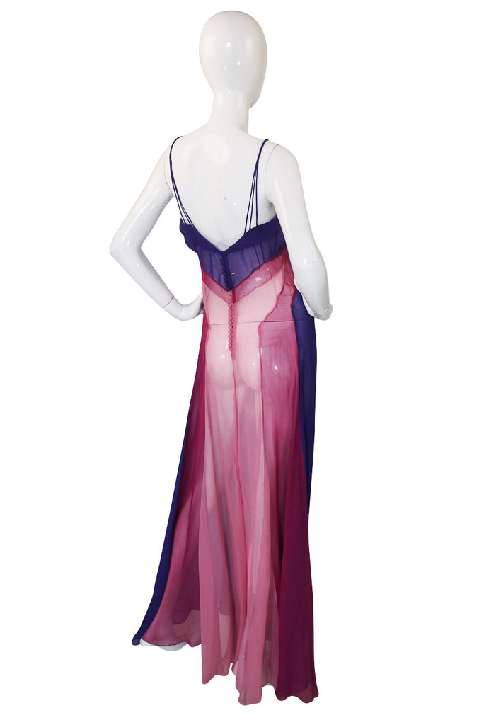 1930s Exceptional Paneled Silk Chiffon Gown
