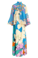Extraordinary 1970s Hanae Mori Couture Pastel Turquoise Floral Print Silk Chiffon Dress & Jacket