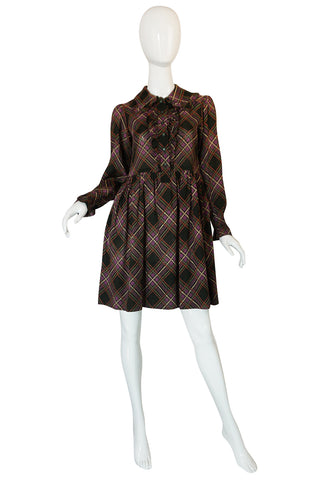 1970s Yves Saint Laurent Ruffled Front Baby Doll Plaid Dress
