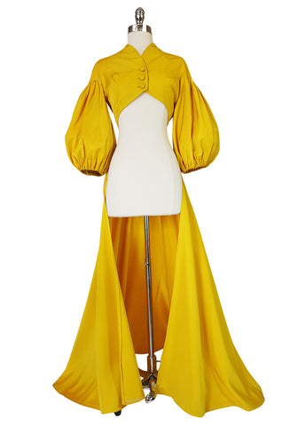Extraordinary 1940s Yellow Silk Satin Full Length Skirted Jacket