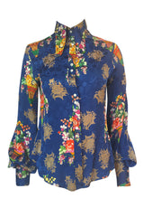 1960s Rare Blue Floral Print Silk Jeff Banks Button Shirt