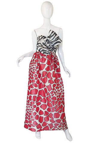1967 Striking Silk Print Strapless Adolfo Gown