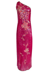 1970s Lillie Rubin Pink Densely Sequin & Bead Graphic Pattern One Shoulder Dress
