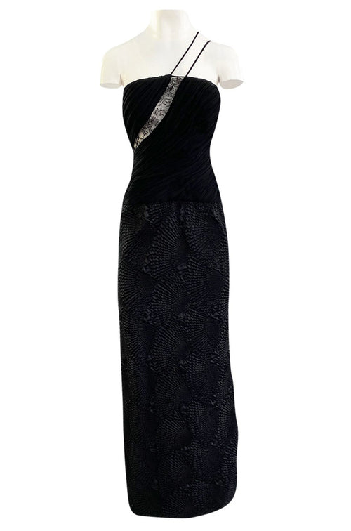 1970s James Galanos Couture Textured Puff Silk One Shoulder Dress w Transparent Lace Inset