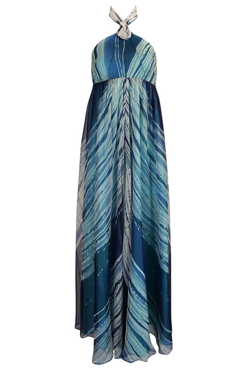 1974 Thea Porter Couture Documented 'Wave' Print Silk Chiffon Backless Dress