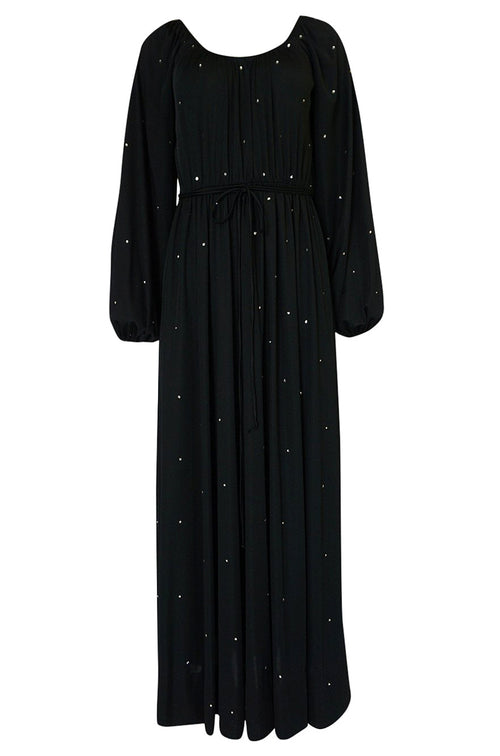 Documented c.1972 Donald Brooks Black Rhinestone Detailed Black Silk Jersey Dress
