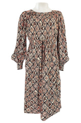 Prettiest 1970s Emanuel Ungaro Haute Couture Full Sleeved Floral & Lattice Printed Silk Dress