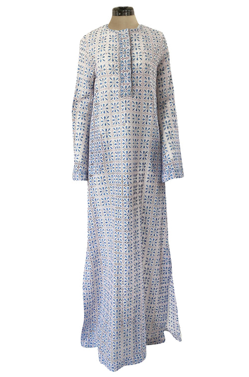 Spring 2014 Luisa Beccaria Palest Blue Open Cut Work Embroidered Caftan Dress w Wide Sleeves
