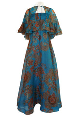1960s Hardy Amies Deep Turquoise & Printed Silk Organza Dress w Matching Ruffled Capelet