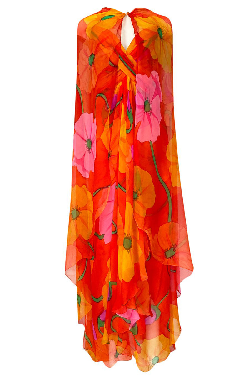 Stunning 1970s Bob Mackie Huge Tropical Flower Print Silk Chiffon Dress w Matching Cape
