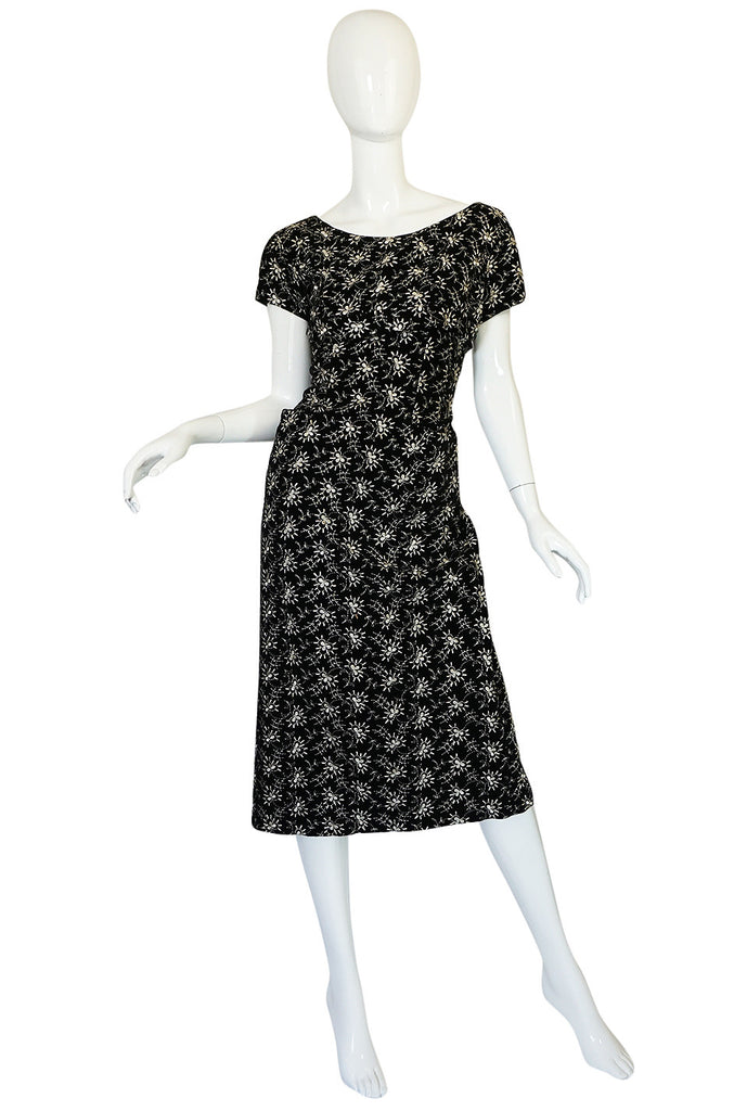Late 1940s Hand Embroidered Black Velvet Fitted Dress