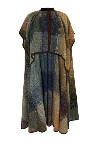 c.1974 Valentino Boutique Nubby Wool Oversized Check Cape