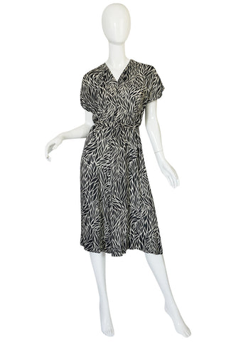 1940s Black & White Graphic Print Silk Chiffon Dress