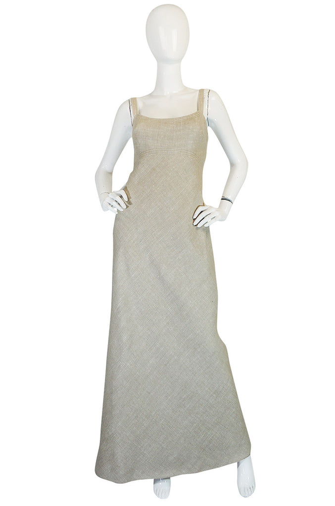Late 1970s Pauline Trigere Heavy Linen Sculptural Dress