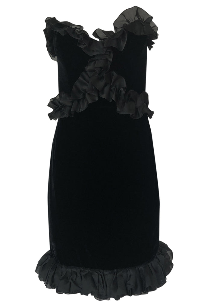 1987 Yves Saint Laurent Strapless Velvet & Silk Organza Ruffled Dress