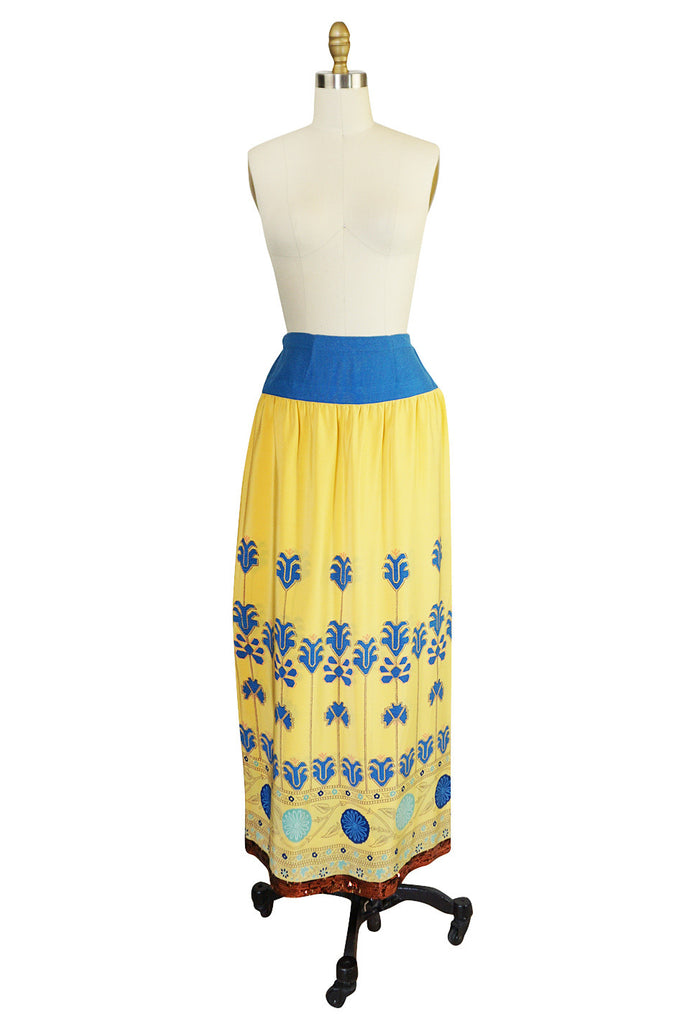 1970s Lanvin Numbered Couture Print & Sequin Wrap Skirt