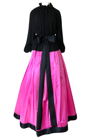 Fall 1977 Bill Blass Couture Full Pink Silk Satin Skirt & Black Top Dress Set