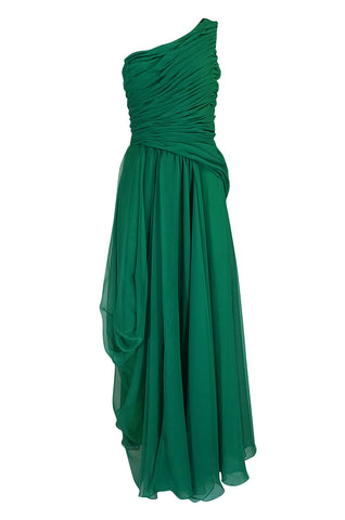 c.1984 Arnold Scaasi One Shoulder Green Draped Chiffon Dress