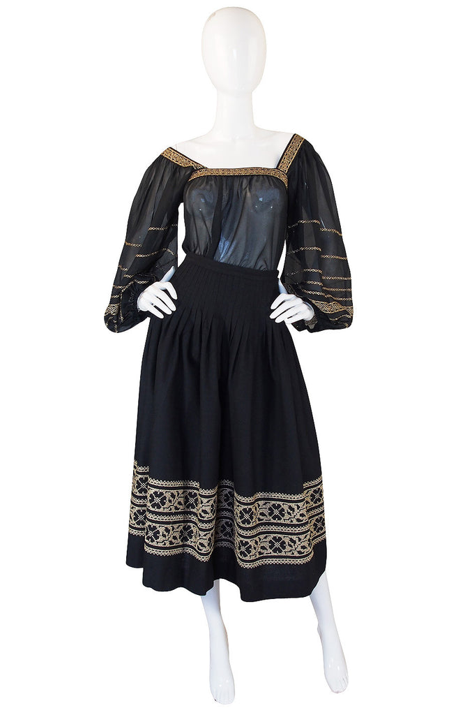 S/S 1977 Yves Saint Laurent Peasant Top & Skirt