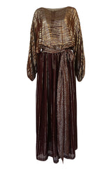1978 Bill Blass Burgundy & Gold Lurex Striped Silk Chiffon Dress