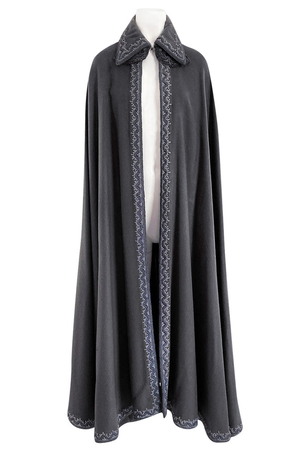 Wonderful 1970s Grey Full Length Wool Cape w Elaborate Braided Edge Detail