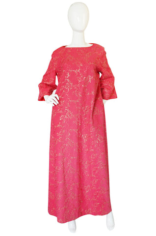1960s Hand Embroidered B. Cohen Pink Caftan Dress
