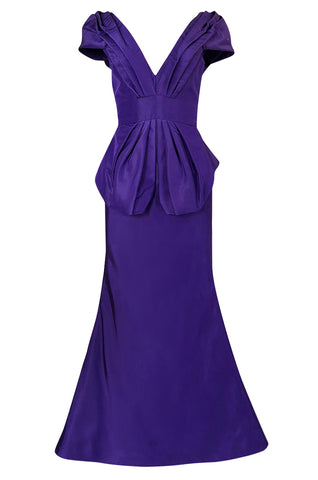 A/W 2013 Oscar De La Renta Runway Sculptural Purple Silk Dress