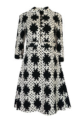 Exceptional c1966 Donald Brooks Graphic Black & White Dress