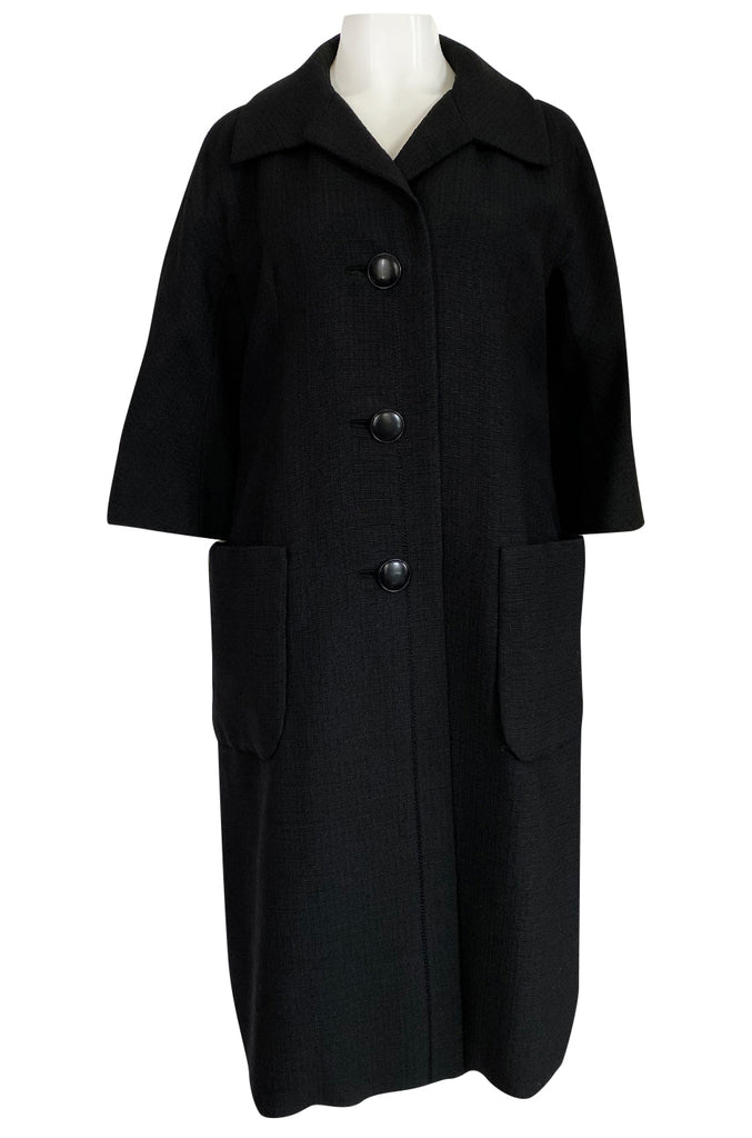 1950s Christian Dior Demi-Couture Simply Cut Black Textured Silk Coat
