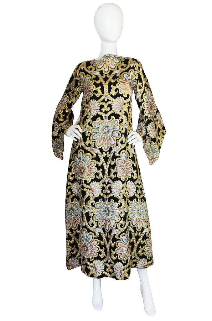 1960s Dramatic Gold Silk Brocade Caftan Dress