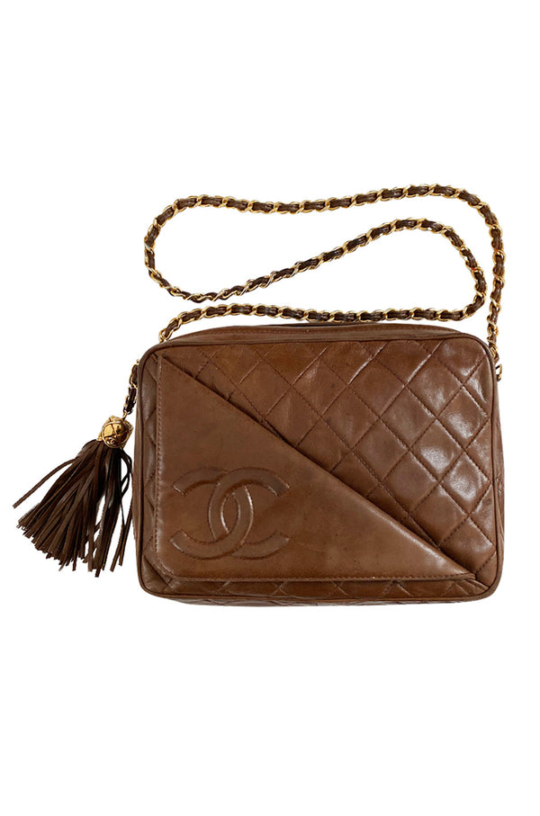 c. 1990 Chanel Quilted Camera Bag w Fringe Tassel & Front Flap Pocket