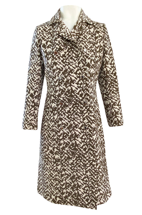 1970s Givenchy Structured Neoprene Canvas Finish Abstract Print Coat w Silver Buttons