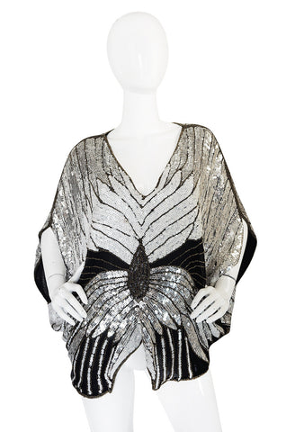 1970s Elaborate Heavily Sequin Butterfly Top Or Cape