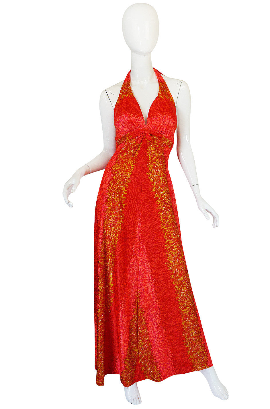 50651a0f8f1 1960s DeWeese Coral and Red Halter Maxi Dress