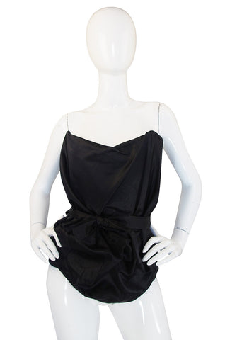 1990s Vivienne Westwood Gold Label Black Silk Corset Top