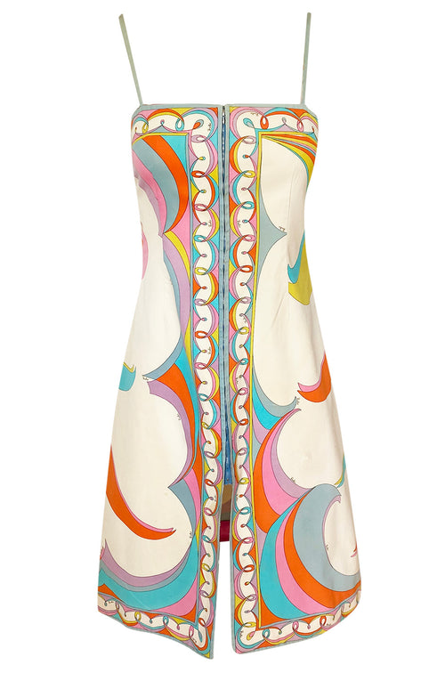 1960s Emilio Pucci Curving Pattern Pastel Printed Crisp Cotton Sun Dress