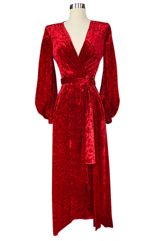 1980s Yves Saint Laurent Red Crushed Velvet Wrap Plunge Dress