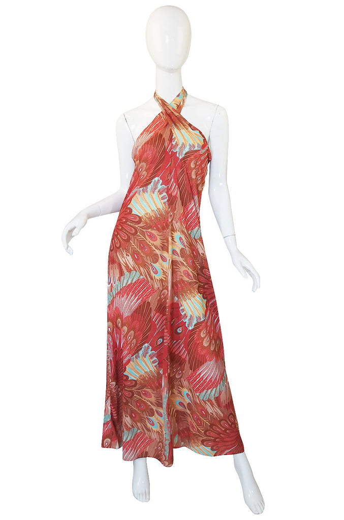 1970s Feather Print John Kloss Halter Dress