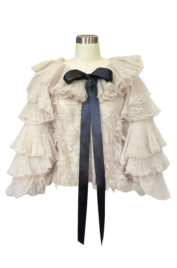 Fall 2009 Chanel Gossamer Mohair Knit Ruffled Sleeve Fantasy Evening Jacket