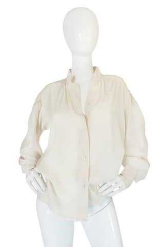1970s Yves Saint Laurent Cream Silk Button Front Top