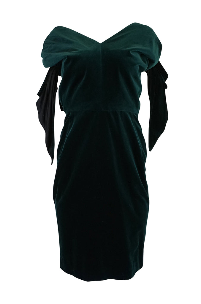 A/W 1989 Antony Price Bottle Green Velvet Dress w Removeable Bows