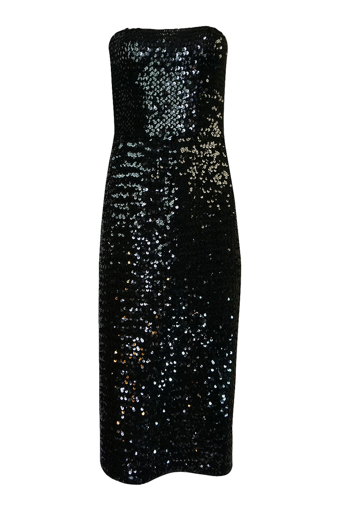 Early 1980s Roland Klein Glossy Black Strapless Sequin Dress
