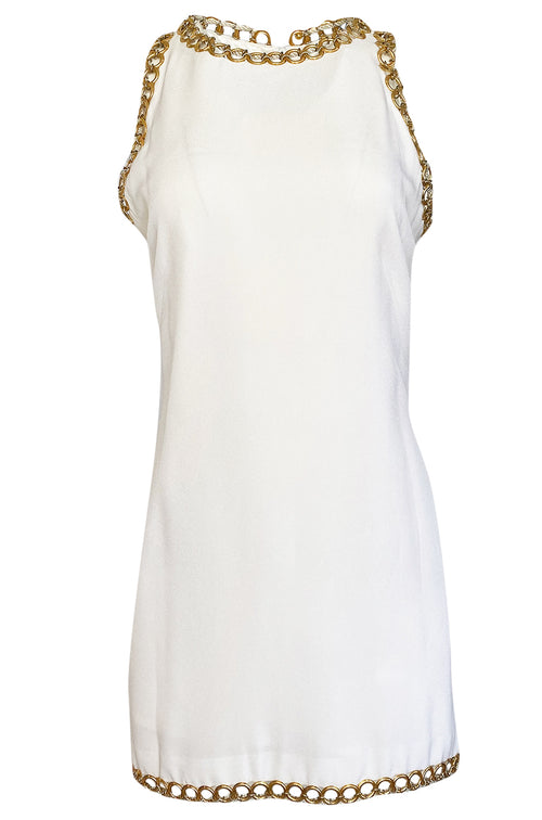 Early 1980s Paco Rabanne White Dress w Gold Metal Loop Detailing
