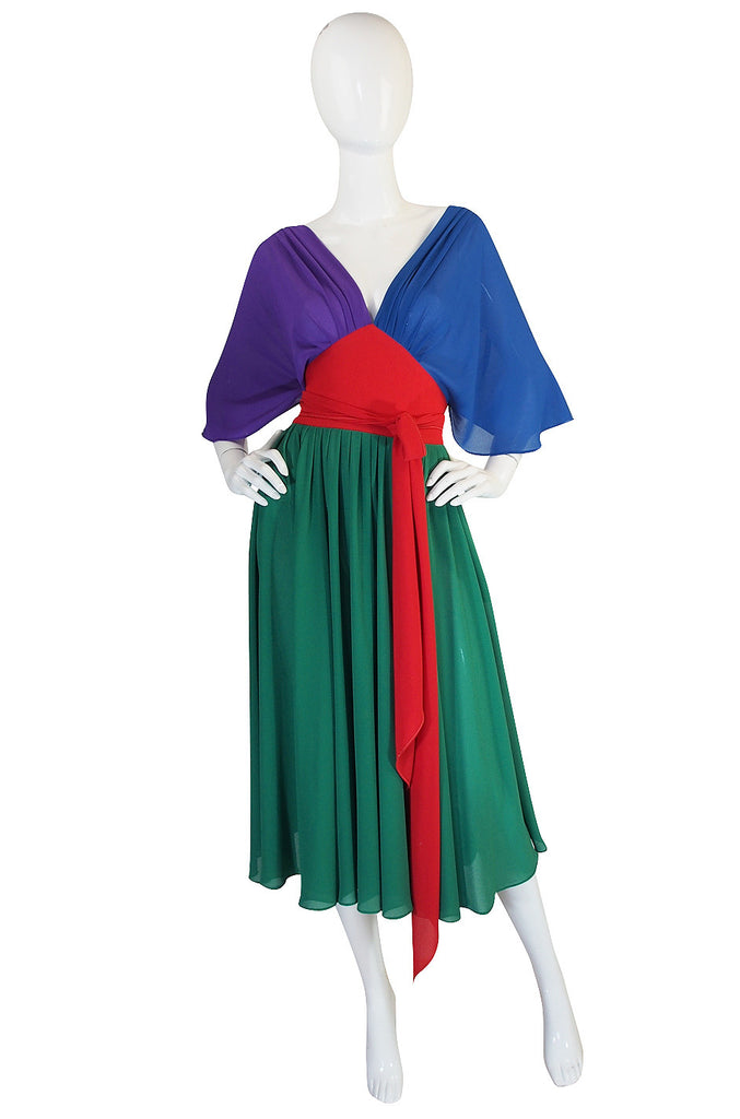 1970s Wrap Color Block Giorgio Sant 'Angelo Dress