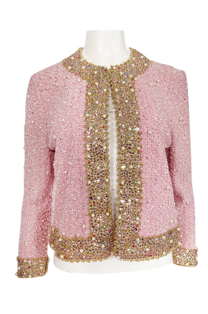 Stunning 1970s Adolfo Pale Pink Beaded Pearl, Rhinestone & Gold Jacket
